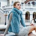Besty высокое качество зима теплая толстая полный кожаный мех лисы жилет короткий дизайн жилеты мода slim пальто натуральный мех мандарин воротник