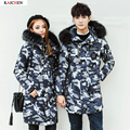 high quality Down Parkas Men's long down Camouflage jacket fur collar Army green and gray thick feather coat  New Lovers jacket