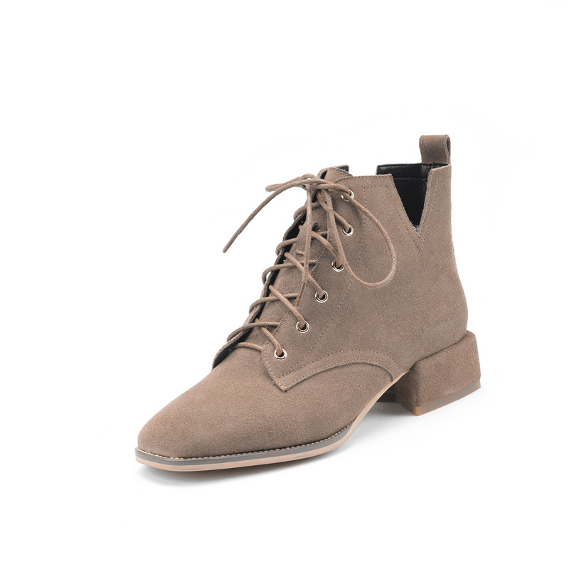 Albaricoque 2018 Moda Med Smirnova Otoño Del La Tobillo Negro Nuevo Señoras Hasta Botas apricot Cuero Zapatos Mujer Encaje De Ante Vaca Talones EUqr6UTH