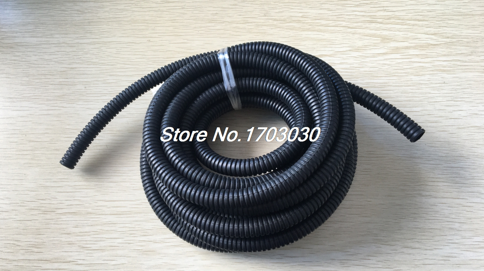 Black Plastic 13mm x 10mm Corrugated Wire Tubing Convoluted Hose Tube 5M