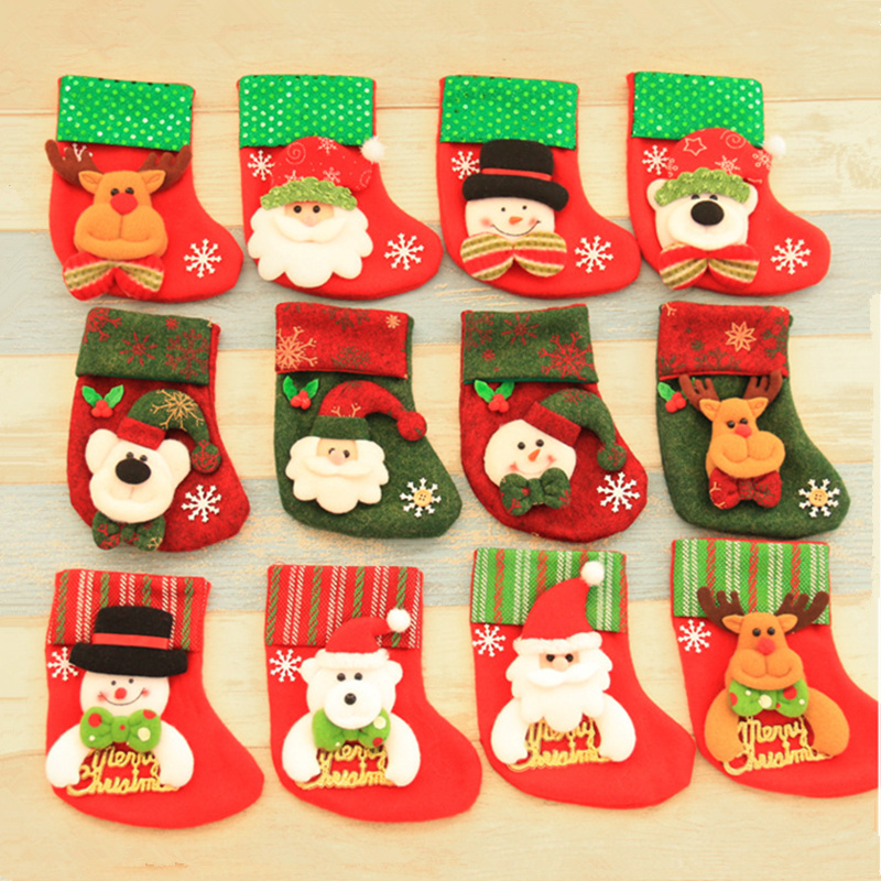 paillette red christmas stocking mini candy gift bags for christmas tree decor festival home party supplies - Christmas Stockings