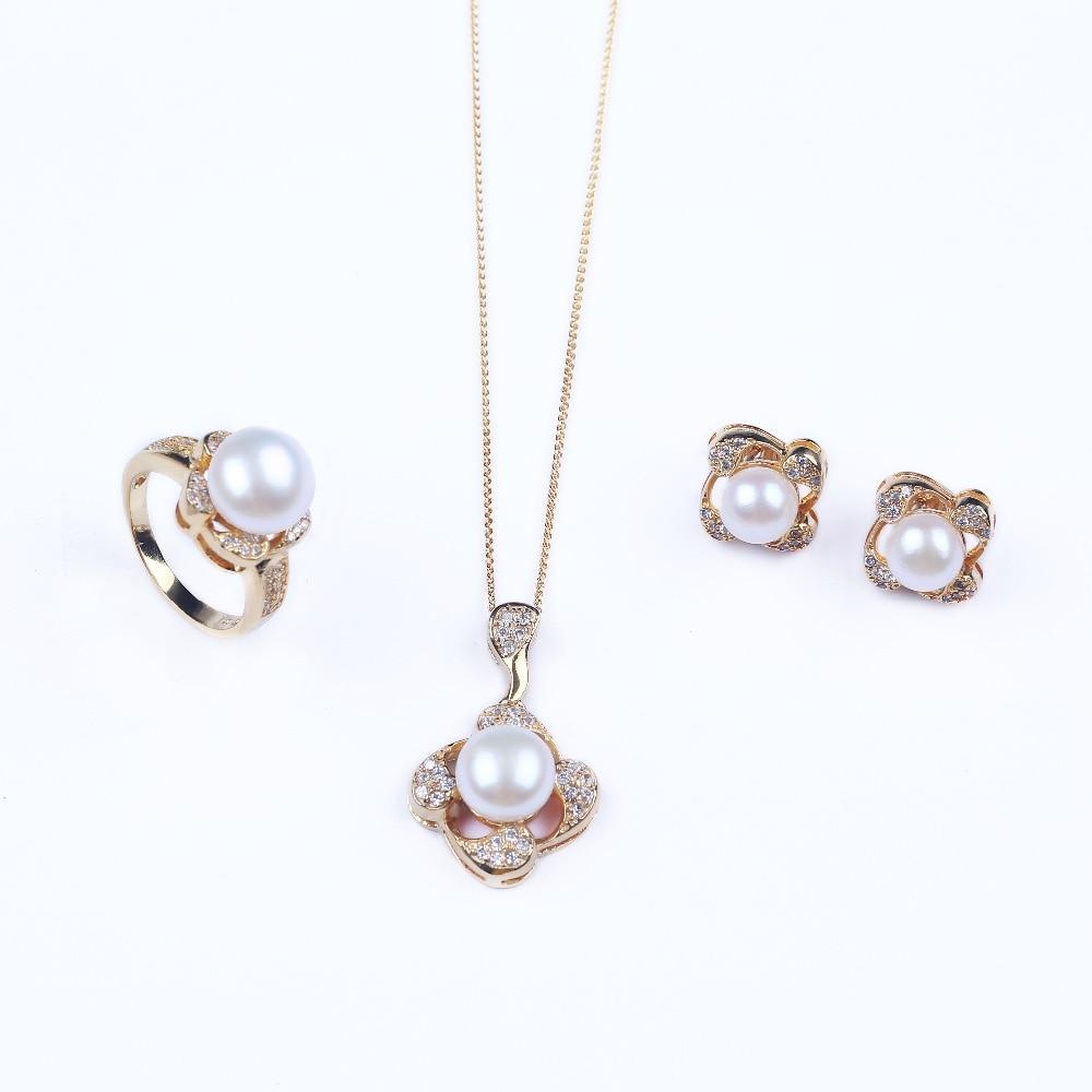 Fine 925 argent perle d'eau douce ensembles de bijoux femmes perle strass perles ensembles de bijoux de mariage