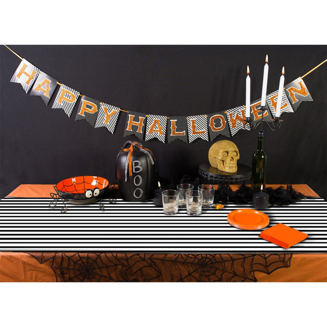 Ourwarm Halloween Table Cloth 182*35cm Black And White Stirped Tablecloth  For Halloween Table Decoration