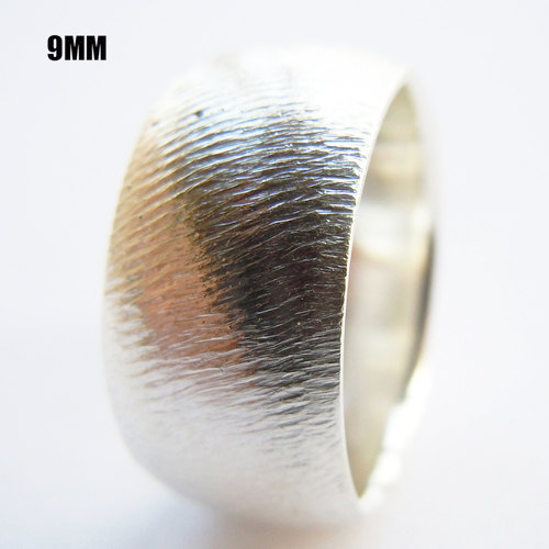 Wellmade Solid 925 Sterling Silver Mens 9mm Band Ring
