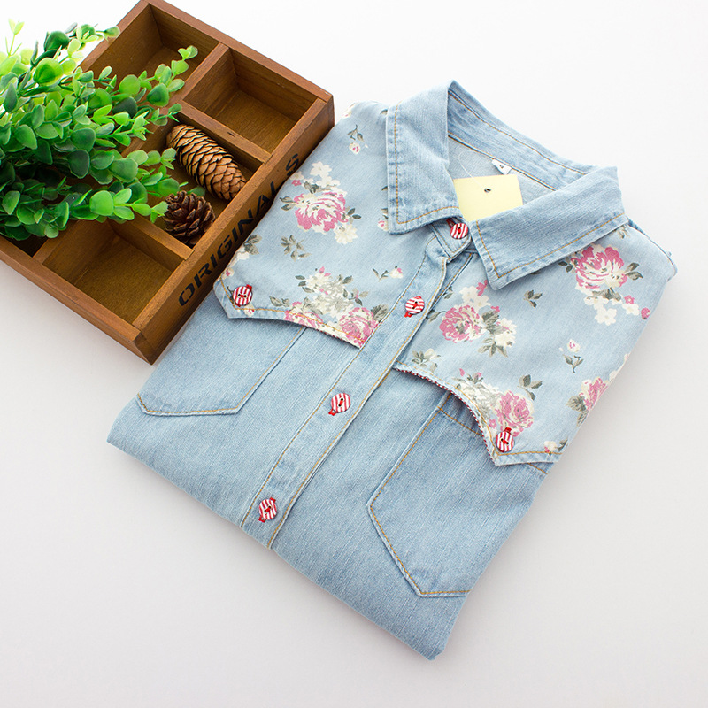 Vintage Rose Flowers Print Women Tops Small Lapel Loose Long-sleeved Denim Shirt JA-17