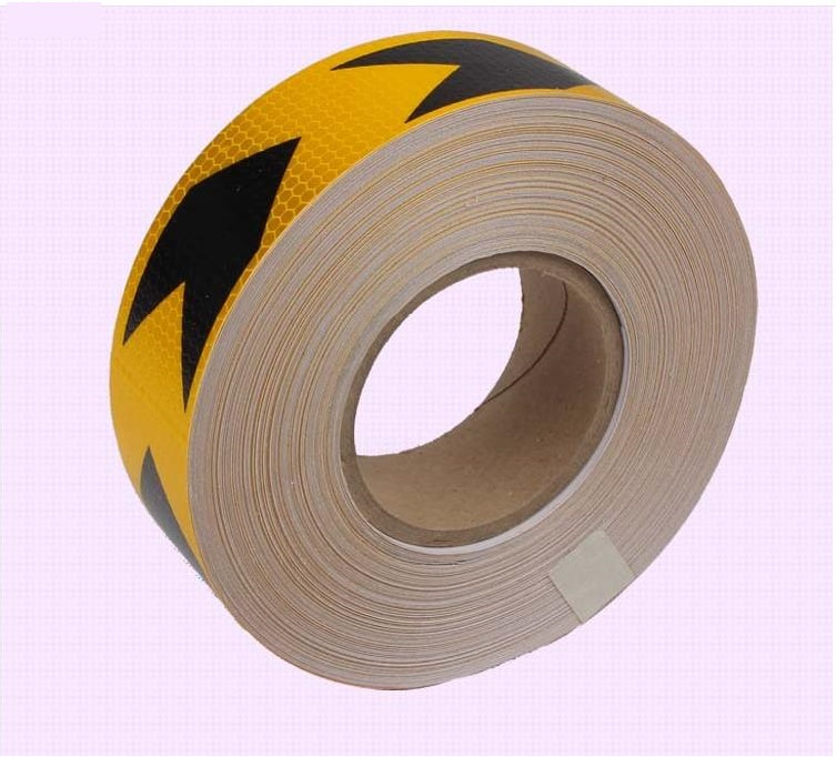 5cm*45M orange reflective pvc arrow mark warning tape self-adhesive reflective safety sign road traffic guidepost adhesive film