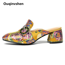 Ouqinvshen  Embroider Mules Shoes Women Big Size 34-43 Round Toe Square Heel Party Summer Slippers Crystal Fashion Women Heels