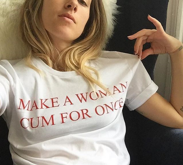 Make A Woman Cum For Once Fashion Tumblr T Shirt Women Red Letter