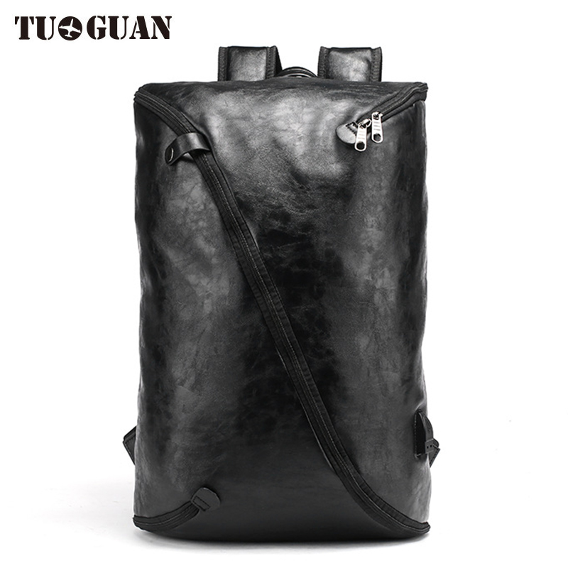 TUGUAN Fashion Men PU Backpack Leather Laptop Bag Waterproof USB Charging Schoolbag Student Back Pack for Boy Male Bagpack ozuko multi functional men backpack waterproof usb charge computer backpacks 15inch laptop bag creative student school bags 2018