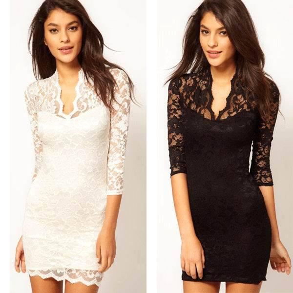 f04740c78 Vestido De renda Com Scalloped Pescoço moda rendas mini vestido 3S2154 +  Frete grátis Oco Lace Vestido de Festa