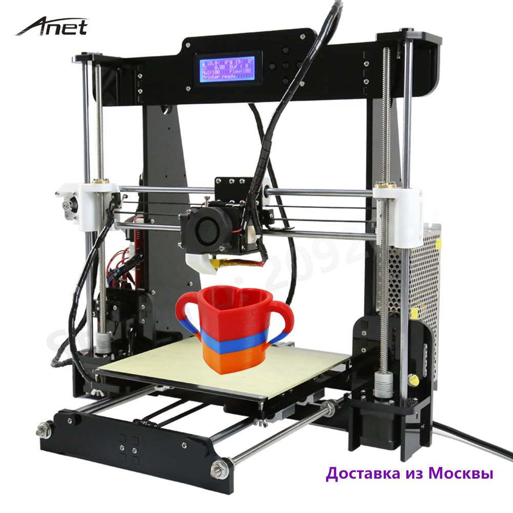 High quality newest Anet A8 printer 3d prusa i3 aluminum bed plastics and 8GB SD as