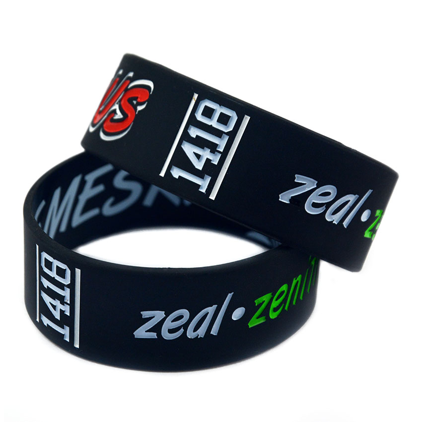 OneBandaHouse 1 Inch Wide Customized Logo Silicone Wristband Advertising Bracelet