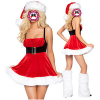 Abbille Cheap Women Christmas Dress Sexy Ladies Red Santa Costume Women Party Fancy Autumn Winter Dress Cosplay with Hats 2017