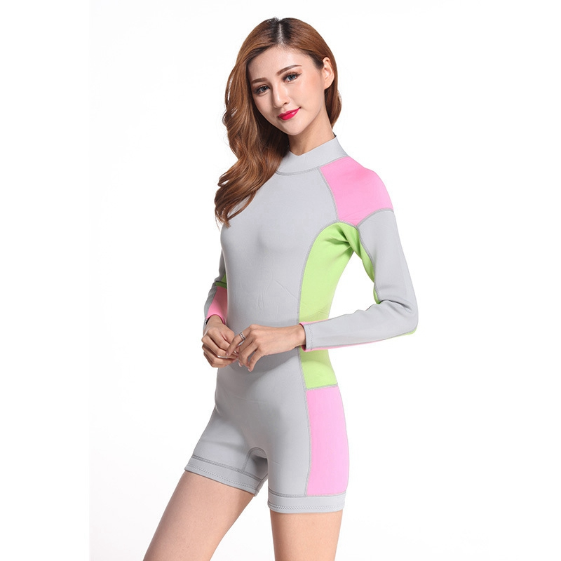 women neoprene 2mm diving suits long sleeve shirt and shorts surfing patchwork Spearfishing  snorkeling wetsuit lady swimsuit