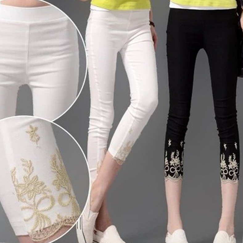 Lady Summer Large Size 4XL Thin Cotton Blend Capris Large Slim Fitted Short Embroidery Pants Women Back White Pencil   Leggings