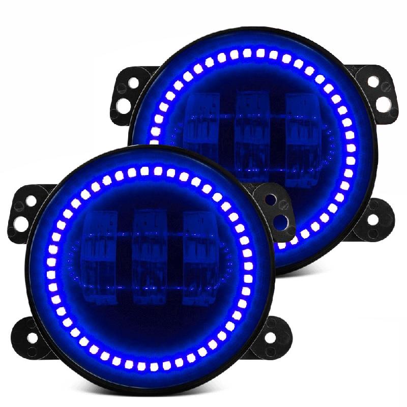Пара Вранглер JK в 60Вт 4 дюйма светодиодные Противотуманные фары глаза Ангела гало кольцо / синий Венчик для бездорожья Противотуманные фары для джип