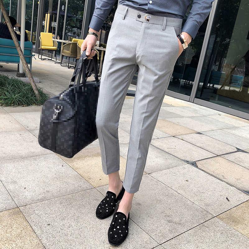 cda79e266d Perfume Masculino Grey Mens Dress Pants Slim Fit Black Formal Pants For Men  Trouser Office Calca