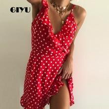 GIYU Summer Women Star Dot Printing Dress Ruffles Holiday Mini Dresses Wrap Vestido Sexy V Neck Tie-up ropa mujer