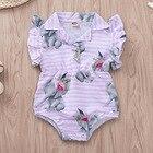 Summer Infant Stripe and Floral Bodysuits Cartoon Elephant Newborn Girl Onesie Baby Girl Clothes 9 Months