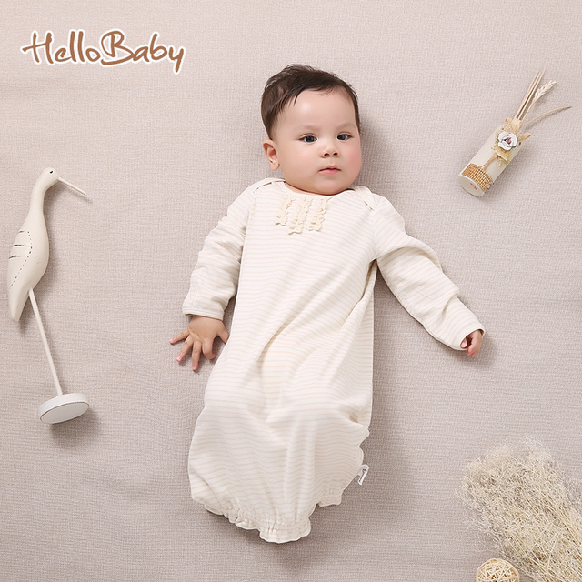 4b0c2056616b Baby Natural Cotton Nightgown 0 9 Months Newborn Baby Sleepwear Long ...