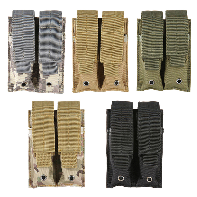 Hot Outdoor Practical Camping Pouch Equipments 9MM Nylon 600D Tactical Molle Dual Double Pistol Mag Magazine Pouch Close Holster