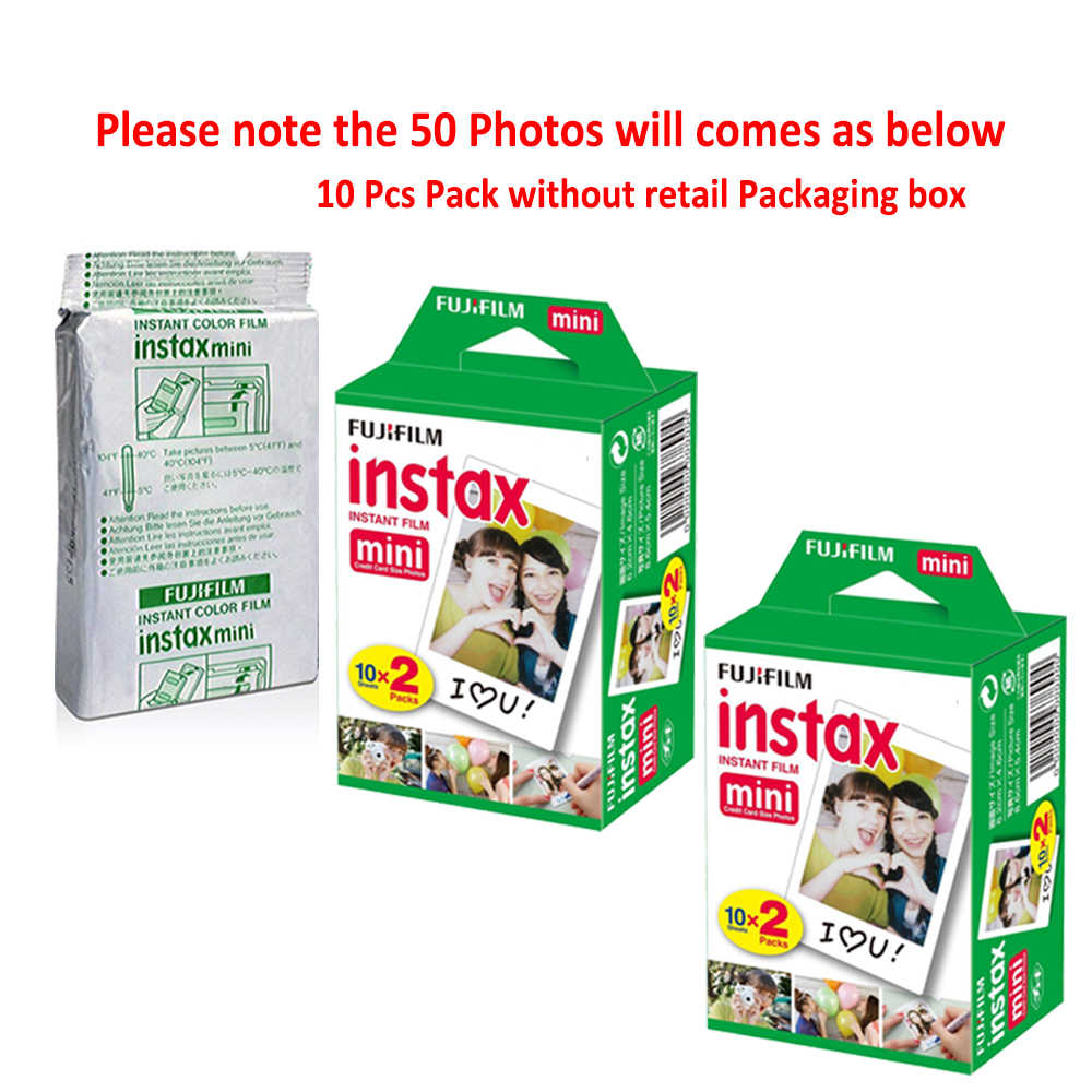 Fujifilm Instax Mini 9 Camera Ice Blue + 50 Photos Fuji Instant Mini 8 White Frame Film Paper Picture + Free 20pcs Sticker & Pen