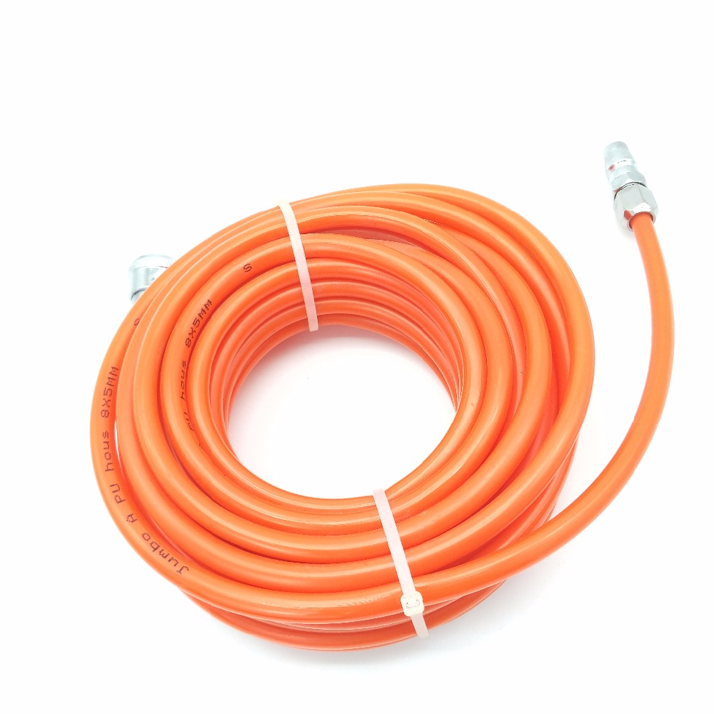 8mm x 5mm Orange PU PU Straight 10M / 15M / 20M Air Compression Pneumatic Hoses with Metal Quick Couplings