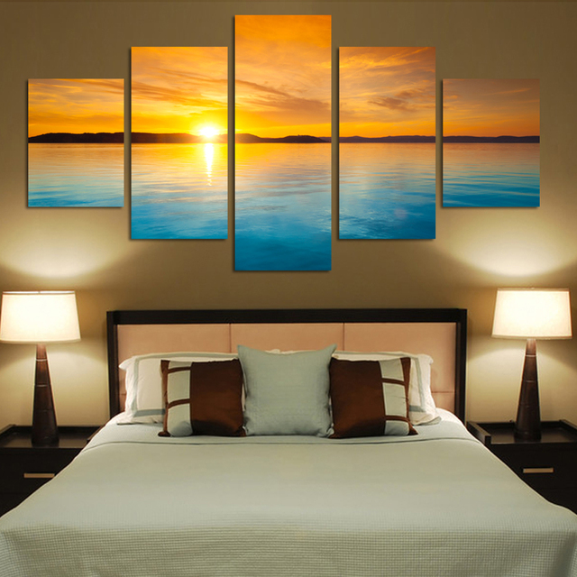 Modern Art Design 5 Pieces Landscape Canvas Painting Blue Sea Sunset HD  Wall Paintings Living Room