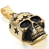 New Vintage Stainless Steel Necklaces Men Gold Skull Skeleton Pendant Necklaces Chain 22 Inches Fashion Collar