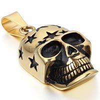 New Vintage Edelstahl Halsketten Männer Gold Schädel Skeleton Anhänger Halsketten Kette 22 zoll Mode kragen