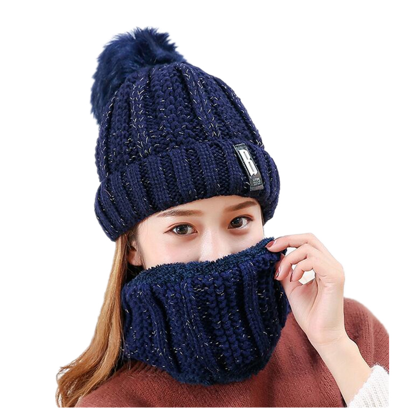 16 colors Korean Hat and Scarf Women Winter Knit Fur Scarf Hat Scarf winter cashmere knitting cap for girl warm female leisure skullies 2017 new arrival hedging hat female autumn and winter days wool cap influx of men and women scarf scarf hat 1866729