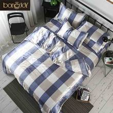 Bonenjoy Bed Linen Single Bed Blue and White Color Satin Silk Plaid Duvet Cover Bed Sheet Pillowcase Summer Quilt Cover Bedding(China)