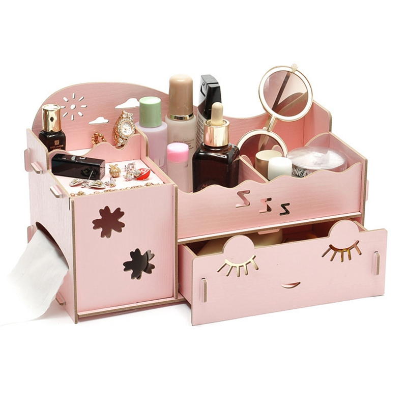 Makeup Storage Wooden Drawer Organizer Wooden Box Make Up organizer Multi-functional Jewelry Small Drawer Desk Storage Container