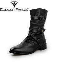 CUDDLYIIPANDA 2017 Men Military Boots Belt Buckle Punk Martin Male Boots Autumn Winter Fashion Genuine Leather