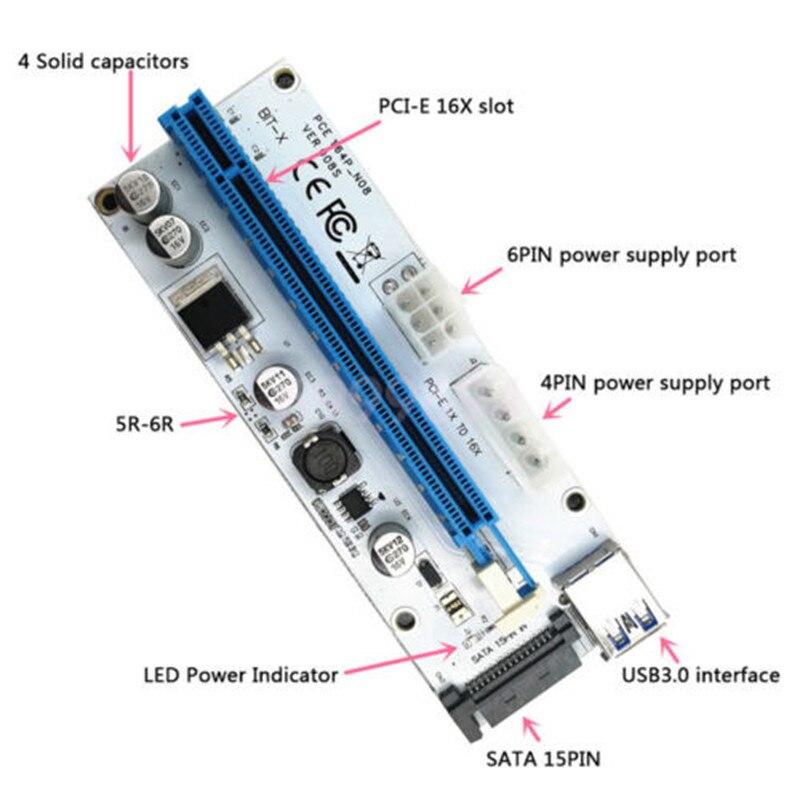 008 USB3.0 PCI-E Expresso 1x a 16x Riser Cartão Extender Extensor cabo Para Máquina Mineiro PCI-E SATA Adaptador SATA 4PIN 6PIN GHMY