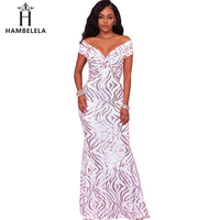 HAMBELELA Sexy Shiny Sequin Maxi Party Dress Off Shoulder Long Mermaid Floor Length Retro Evening Gown Dress Women Long Vestidos