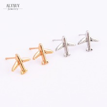 Fashion jewelry gold silver color aircraft stud for women men lovers' gift 1lot=2pairs E3286