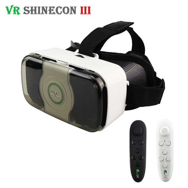 Hot VR Shinecon 3.0 Pro Headset 3D Virtual Reality Glasses Front Cover Helmet vrbox for 4.5-6' Mobile Phone with VR Controller