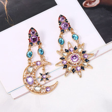 HOCOLE 2019 Trendy Crystal Earrings For Women Vintage Sun Moon Geometric Rhinestone Drop Earring Fashion Jewelry Wedding Party