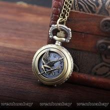 Grande / Pequeño Tamaño Bronce Retro Hollow Bird Collar Colgante de Cadena Hombres Mujeres Quratz Relojes de Bolsillo Mens Boy Mujeres Señora Mejores Regalos