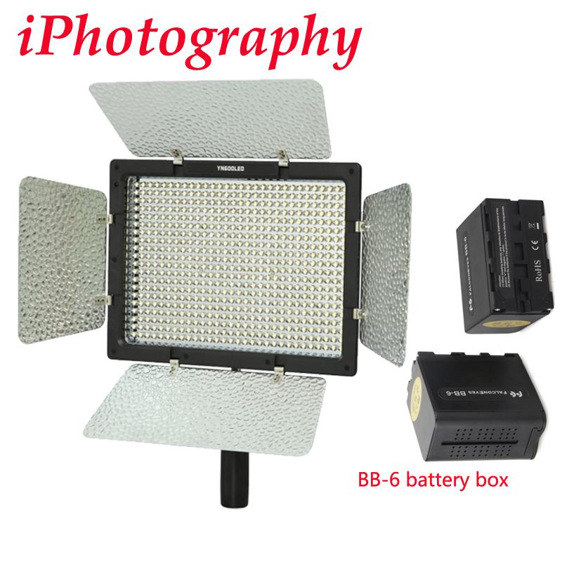Prix pour Yongnuo yn-600 yn600 yn600l 3200-5500 k led couleur température réglable vidéo lumière + bb-6 aa batterie boîte batterie power pack