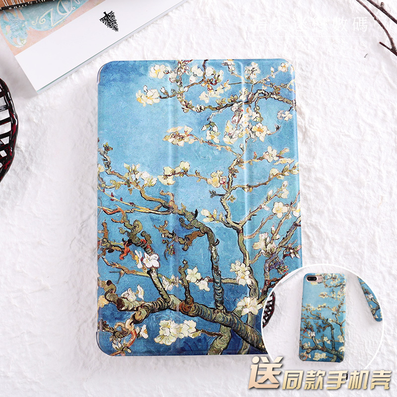 все цены на  For New iPad 9.7 2017 Blue Apricot flower Flip Cover For iPad Pro 9.7