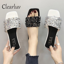 Summer sequined rhinestone slippers ladies Bling sandals platform beach zapatos mujer sandalia feminina C0905