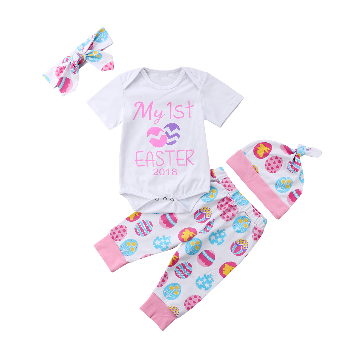 New Casual Lovely Newborn Baby Girls Clothes My 1st Easter Clothes Romper Leggings Pants Hat Headband Set