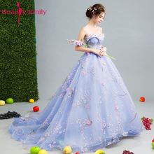 Beauty Emily Light Blue Wedding Dresses 2018 New Sexy Long Bride Dress Party Bridal Gowns Luxury Colorful Beads
