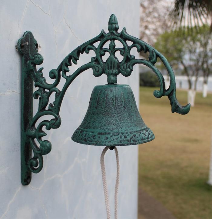 Large Door Bell Wall Mount Dark Green Cast Iron Welcome