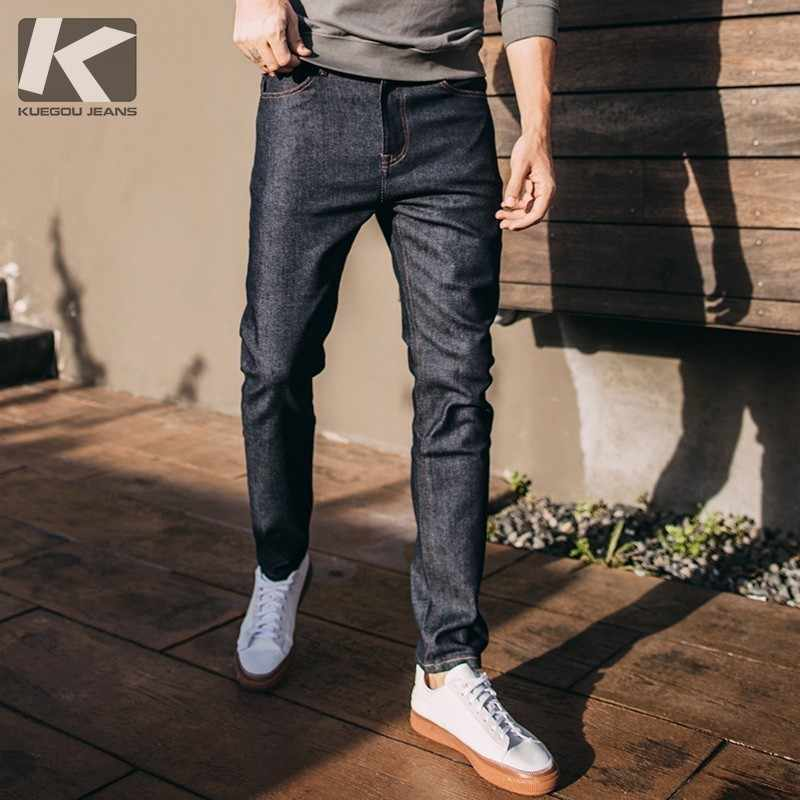 Autumn Men Jeans Cotton Solid Blue Color Pocket For Man Fashion Slim Fit Denim Casual Pants 2018 Male Wear Long Trousers 2659