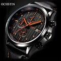 Relógio Cronógrafo dos homens Top Marca de Luxo Moda Casual Homens De Couro militar Esporte Quartz Relógio de Pulso Relogio masculino