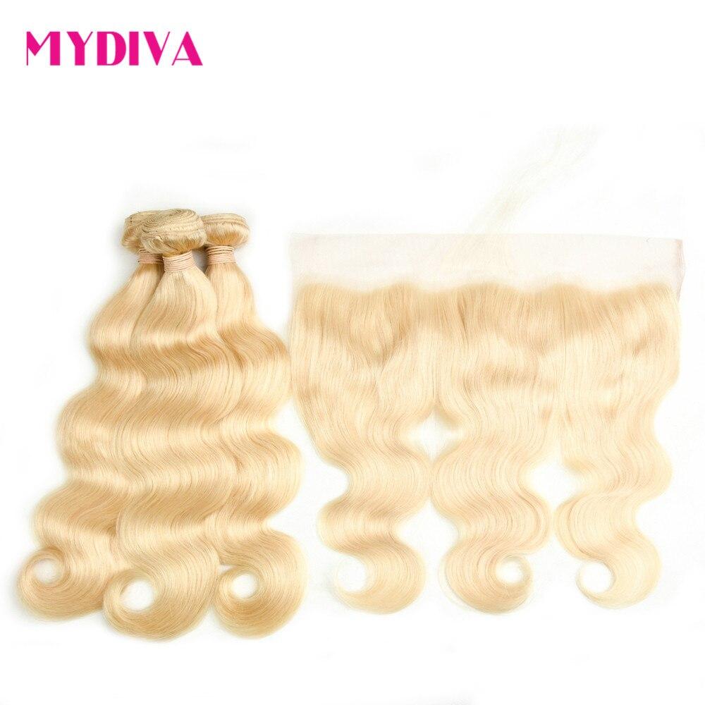 613 блондинка пучки с фронтальной закрытие перуанский объемная волна 3 Связки с Фронтальная застежка 100% человеческих волос Mydiva