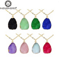 B0910 Candy Color Irregular Geometric Water Drop Shaped Natural Resin Pendant Necklace for Women Fashion Jewelry Long Necklace